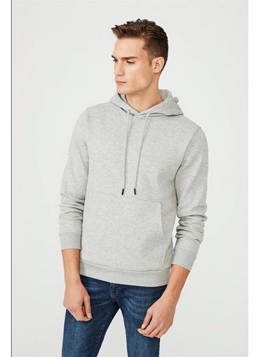 Avva Erkek  Kapüşonlu Yaka Düz  Sweatshirt E001006.20 Gri